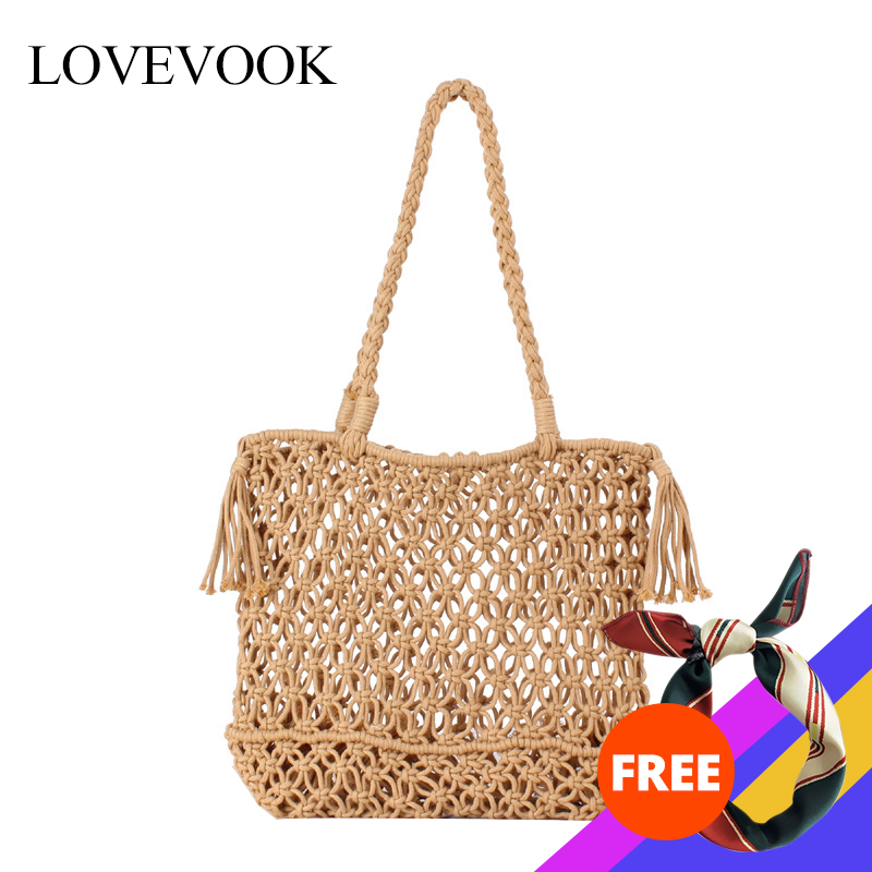 Lovevook Women Shoulder Bags Summer Woven Bags Female Beach Bags For Travel/shopping Straw Bag Cotton Rope Hollow Bohemia Tassel