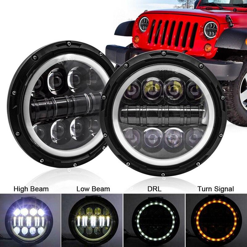 Safego 2 шт. 500 Вт 7 круглый светодиодный фонарь с ангельскими глазами Wrangler, сигнал поворота DRL дальнего и ближнего света для внедорожников, мото