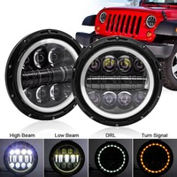 Safego 2pcs 500W 7 Round LED Angel Eyes Wrangler Headlight Turn Signal DRL High Low Beam for Offroad Motorcycle Amber+White
