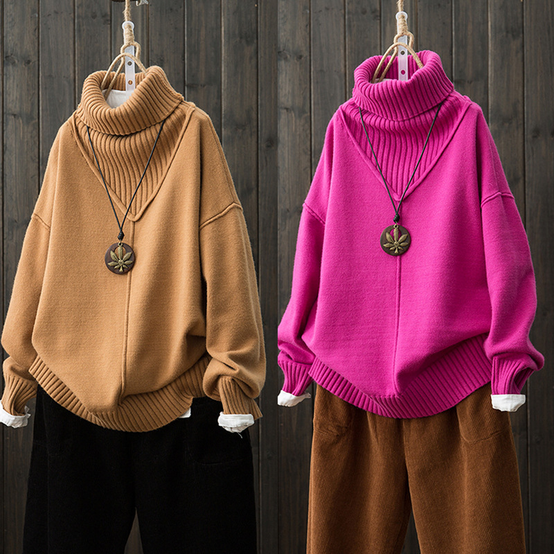 2018 Autumn And Winter New Style Sweater Mori Girl Line Artistic Pullover Solid Color Warm Loose-Fit High Collar Sweater WOMEN'S