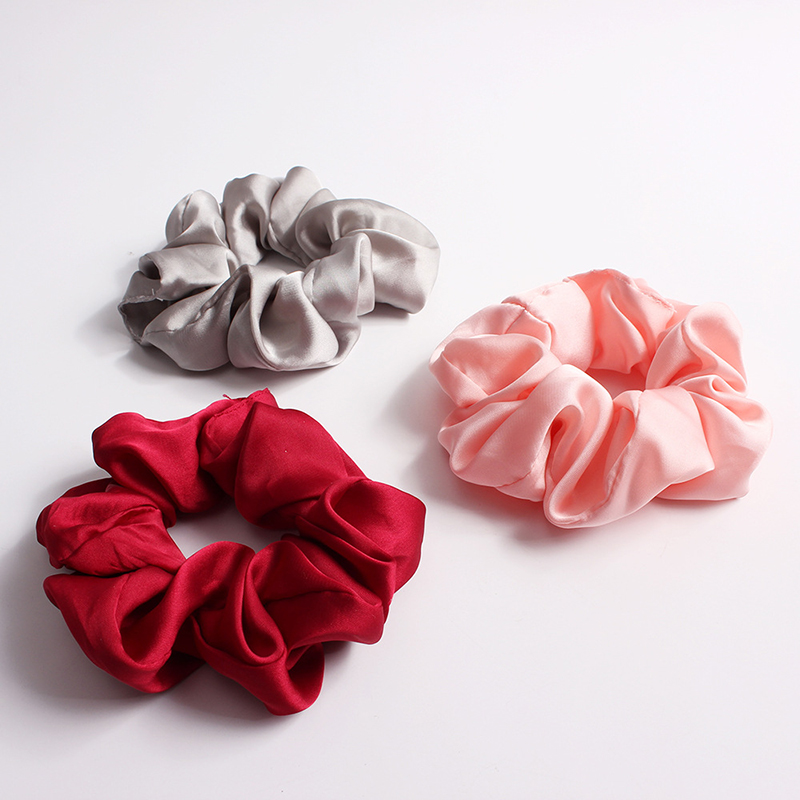 Solid Color Silky Satin Scrunchie Elastic Hair Bands Girls Elegant Fashion Ponytail Holder Hair Rope   Headwear   Red Pink Black Hot