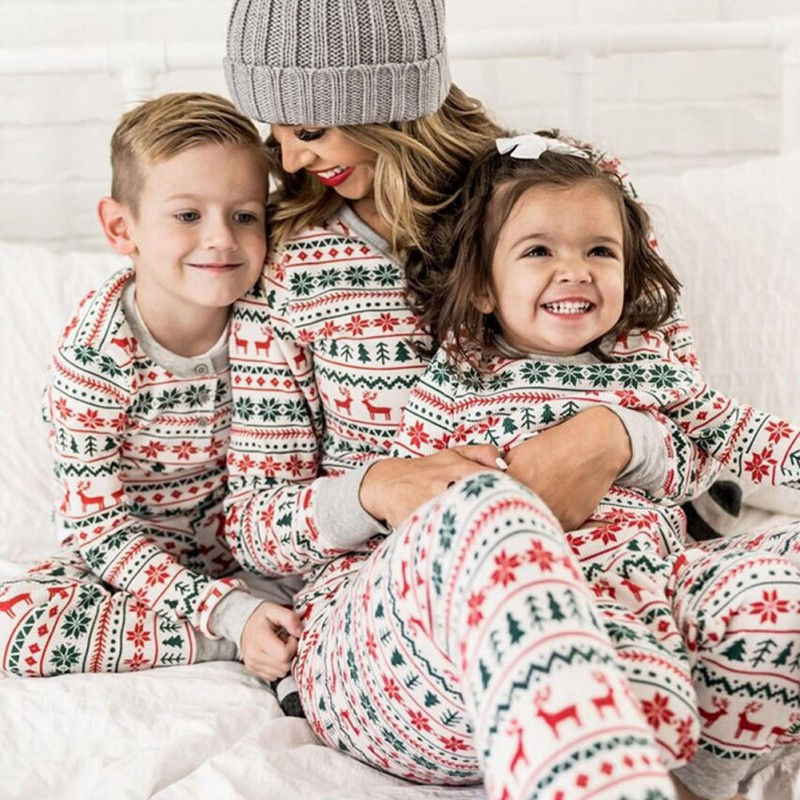 Christmas Pajamas Family Matching Clothes Parent-child Suit Printed Home Service Long Sleeve Round Neck Cotton Two-piece Pajamas