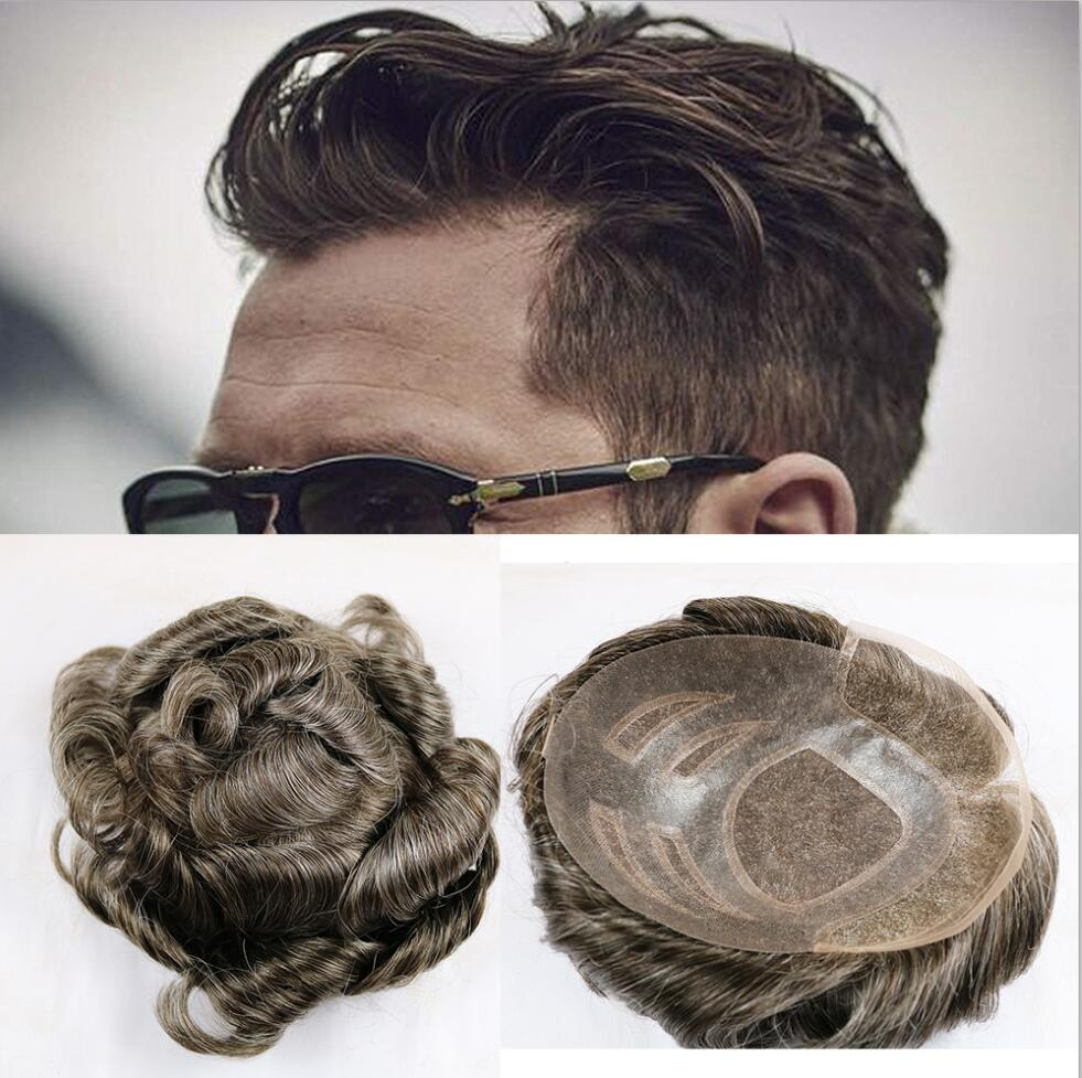 France Lace With Thin Skin Toupee Curly Brown And Grey Color Remy Human Hair Toupee For Men