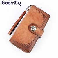 Retro Style Ladies Wallet With Cell Phone Pocket Rfid Blocking Wallet Genuine Leather Long Clutch Bag High capacity Card Holders