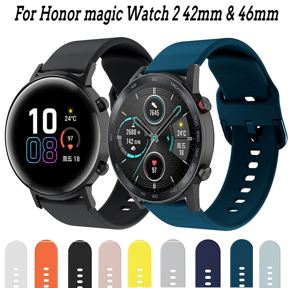 For Honor Magic Watch 2 42mm 46mm Band Silicone Watchbands 20mm 22mm Watch Band Bracelet For Huawei Watch GT 2 ремешок Pulseira