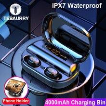 4000mAh TWS 블루투스 이어폰 5.0 9D 스테레오 무선 헤드폰 터치 컨트롤 IPX7 방수 무선 이어폰 보조베터리