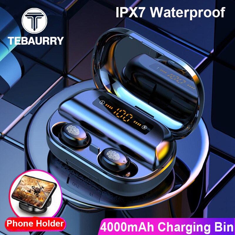4000mAh TWS Bluetooth Kopfhörer 5,0 9D Stereo Drahtlose Kopfhörer Touch Control IPX7 Wasserdichte Drahtlose Kopfhörer Power Bank