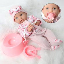 16 inch bebe reborn doll 40CM waterproof silicone simulation Realistic newborn baby Sweater Pacifier chain set for toys children(China)