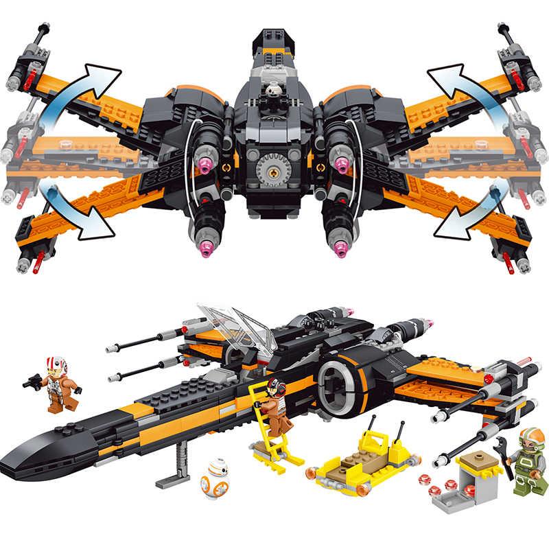 742 шт., маленькие строительные блоки, игрушки, совместимые с LEGO «Звездные войны», Poe's X-Wing Fighter, подарок для мальчиков и девочек, детские DIY