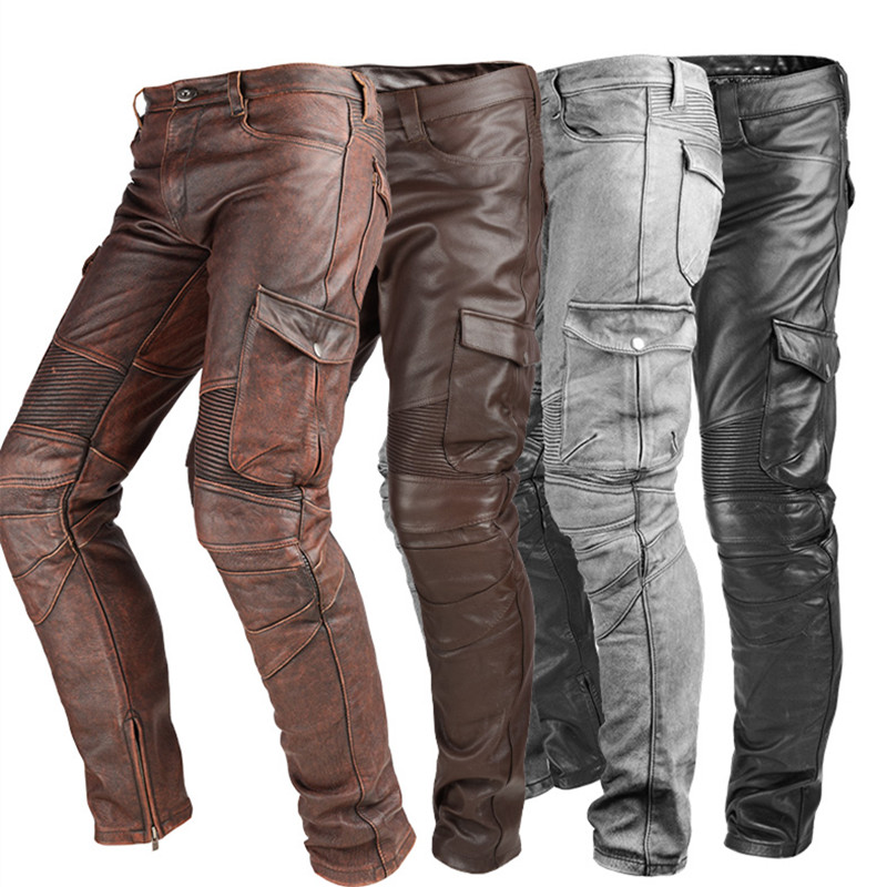 Genuine Leather Pants Men Real Natural Cowhide Cow Skin Harem Pants Motorcycle Biker Waterproof Windproof Male Brand Trousers