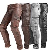 Genuine Leather Pants Men Real Natural Cowhide Cow Skin Harem Pants Motorcycle Biker Waterproof Windproof Male Brand Trousers