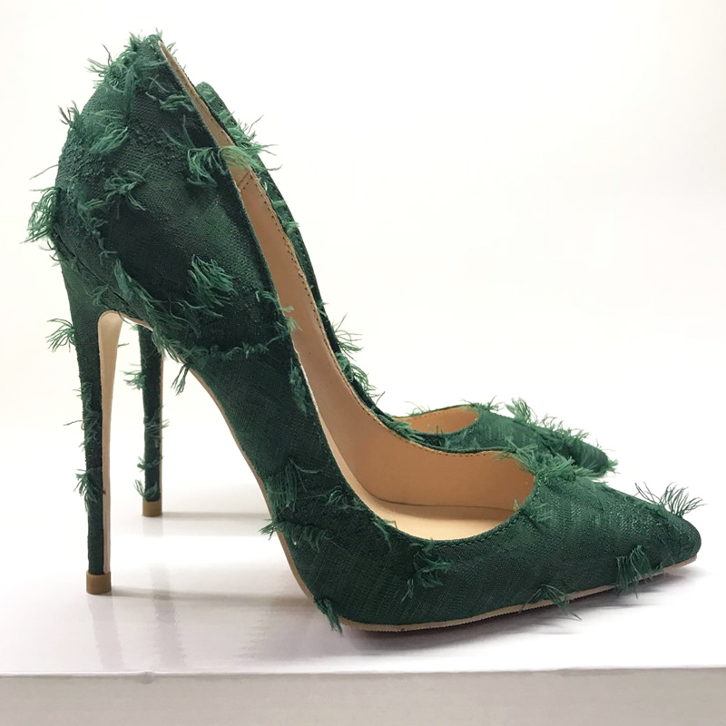 Brand dark green high heel women's shoes fashion pointed shallow mouth sexy thin with single shoes 12cm party evening high heels