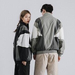 Image 5 - 2019 Erkekler Hip Hop Ceket Rüzgarlık Retro Streetwear Renk Blok Patchwork Ceketler Ceket Sonbahar Harajuku Zip eşofman üstü Rahat