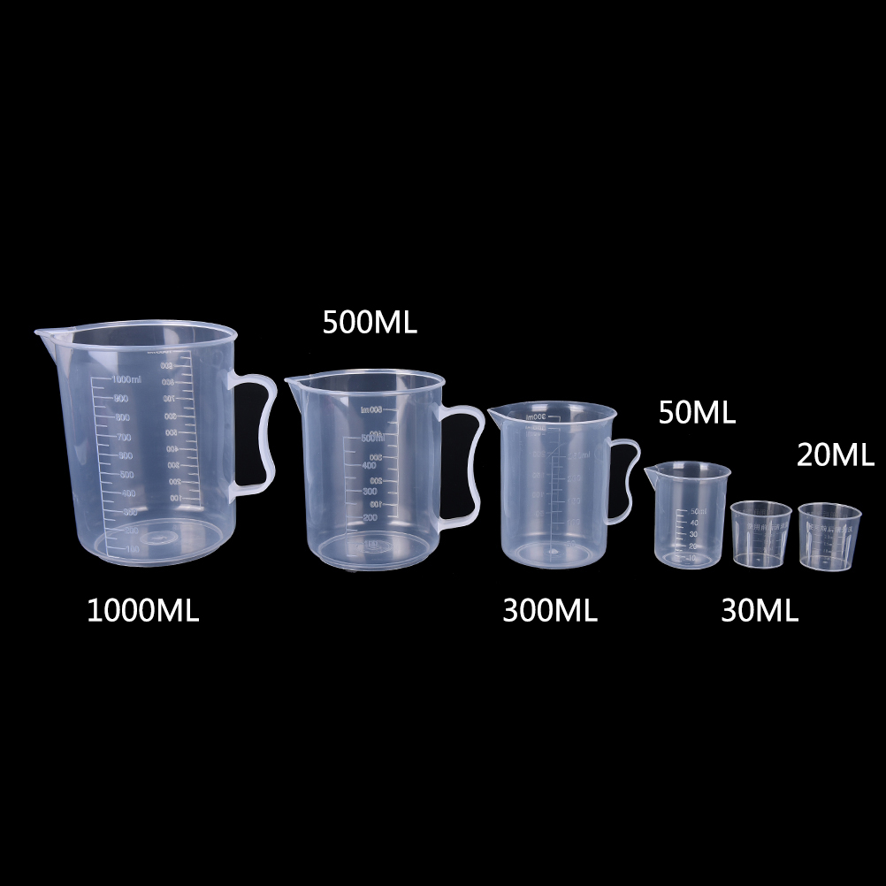 20ml / 30ml /50ml /300ml /500ml/1000ml Plastic Test Measuring Cups For Laboratory Supplies Liquid Graduated Container Beaker