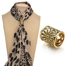 Gariton Vintage Metal Scarf Clip Bohemia Hollow Engraving Flowers Brooches For Women Boutonniere BKb188-b189