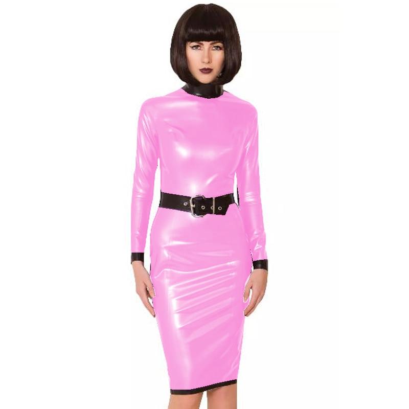 24 Colors Back Zipper Long Sleeve Knee Length Dress Lady Slim Vestido Fashion Patchwork Color Midi Dress Sexy Stage PVC Clubwear 25