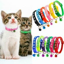 Pet Cat Collar Cute Paw Print Cat Bell Collar Adjustable Nylon Ribbon Collar for Cats Small Dogs Puppy Neck Strap 1.0cm 19-32cm pet collar reflective pet bell collar adjustable size suitable for cats and small dogs pet supplies glow in the dark wholesale