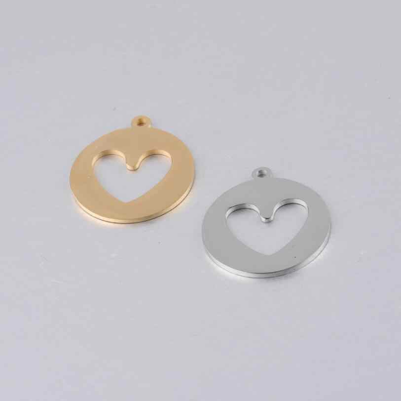 10pcs/Lot Mirror Polished Stainless Steel Hollow Love Heart Shape Charms Pendants For DIY Jewelry Making Accessories 23*25.8mm