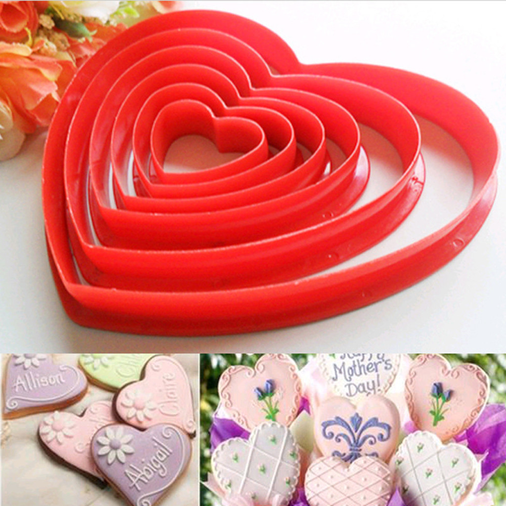 6x Confectionery Fudge Cake Cutting Machine Cake Love Kitchen Baking Mold Tool Making Red Five Star Cake Mold JMSS