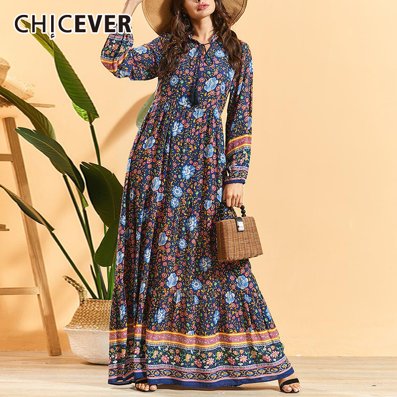 CHICEVER Bohemian Print Women's Dress O Neck Long Sleeve High Waist Tunic Ruched Maxi Dresses Female 2020 Fashion Clothes New