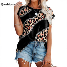 Trend 2021 Plus Size 3xl Women Sexy Leopard Print Tees Shirt Casual Pullovers Ladies T-shirt Summer New Patchwork Female Tops