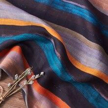 Ramie vintage Color azul rayas olded priting tela primavera/verano falda vestido tela de cheongsam tissu doux tela suave 0,5 metros