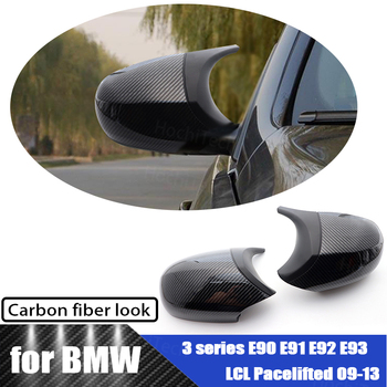 Carbon Fiber Pattern Styling Pre-facelifted Trim Black M3 Style for BMW E90 E91 E92 E93 LCI Rearview Mirror Cover Caps image