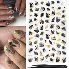 1pcs Glitter 3D Nail Decals Stickers Simple Line Leaf Geometry Pattern Adhesive Decor new year with 1pcs Stainless Steel Tweezer cheap mybormula CN(Origin) 7 6*12 2CM MYFBG654-661A Sticker Decal 3D nail Stickers 1 PCS SHEET PIECE Leaves geometry beach Russian text