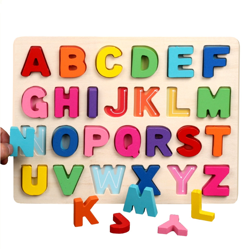 Wooden Toy Alphabets Digital Letters Board Puzzles Wooden Puzzle Jigsaw Puzzle For Kid Early Educational Toys Children Baby Toys