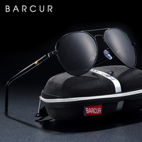 BARCUR Germany Sunglasses Men Polarized Classic Driving Glasses Retro Mens Accessories Luxury Italy Brand