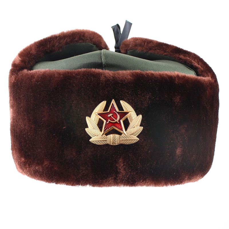 Hat Bomber-Hats Snow-Caps Faux-Fur Soviet Army Military Russia-Ushanka Winter Women Earflap
