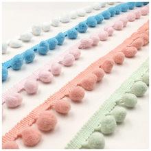 Pompón de colores de bola pequeña de algodón, flecos bohemios de recorte de borlas para ropa de costura, cortinas de bufanda, decoración, 5 yardas/lote, 1,1 cm