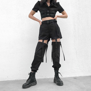 Image 2 - Darlingaga היפ הופ גבוהה מותניים מכנסיים מטען נשים רצים רחוב סגנון מכנסיים אבזם מסלול מכנסיים מתכוונן חלול החוצה Pantalon