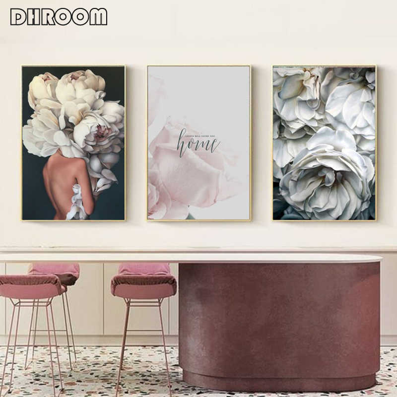 Modern Wall Art Posters Floral Fashion Women Canvas Painting for Living Room Scandinavian Decoration Pictures Home Decor