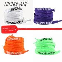 """Новые шнурки с принтом """"шнурки"""", черные, белые, оранжевые, зеленые, фиолетовые, синие, с подписью, шнурки для обуви белого цвета, плоские шнурки"""