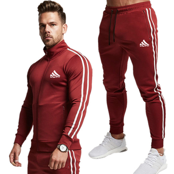 20 New Men Fashion Striped Long Sleeve Hoodies+Pants Set Male Tracksuit Sport Suit Men's Gyms Set Casual Sportswear Suit image