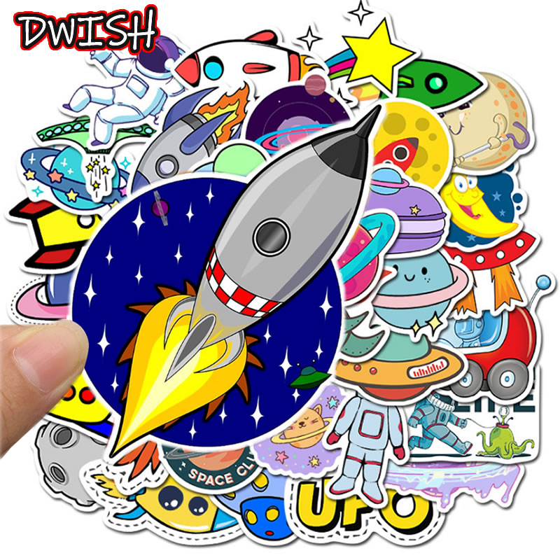 50pcs Pack Cartoon Planet Astronaut Children Waterproof Stickers Skateboard Guitar Suitcase Motorcycle Sticker Kid Graffiti Toy