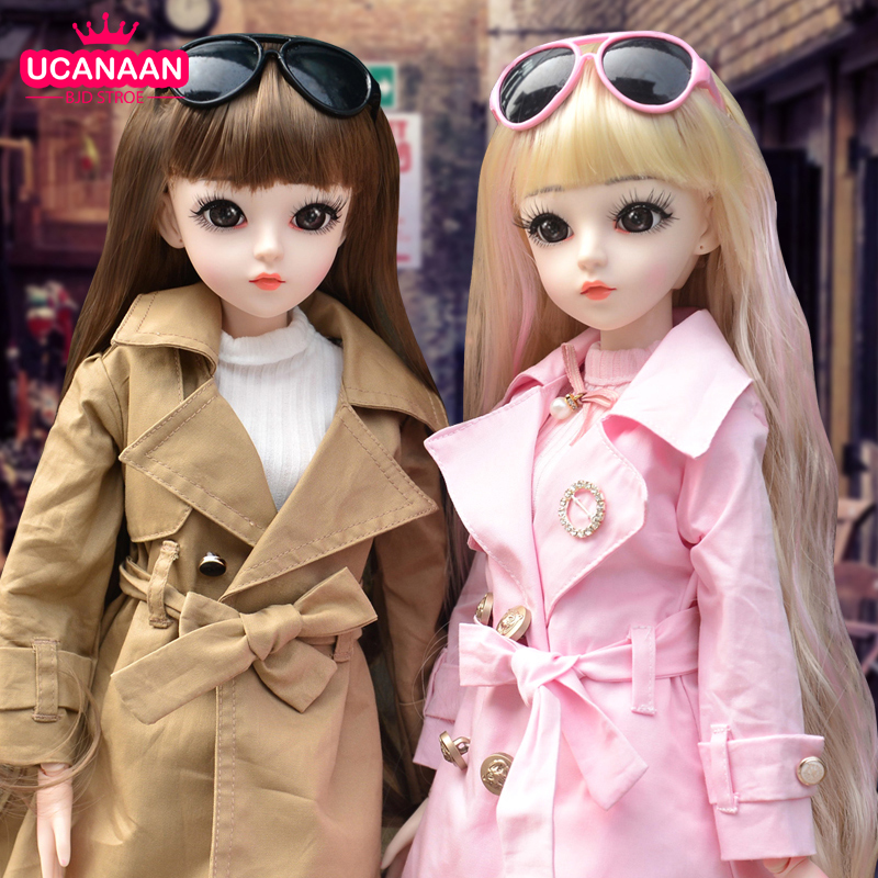 UCanaan BJD Doll 60CM 1/3 Fashion Girls SD Dolls 18 Ball Jointed Doll With Outfits Clothes Set Shoes Wig Makeup Children Toys