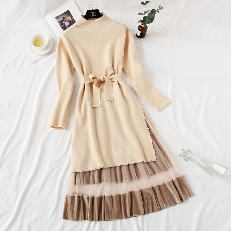 Elegant Stylish Half Turtleneck Long Sweater Dress + Pleated Velvet Skirt 2pcs Women Beaded Sashes Kitted Top and Mesh Skirt Set 37