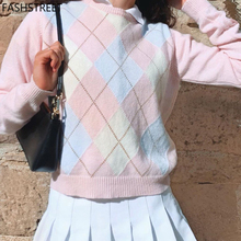 FASHSTREET Fashion Plaid Patchwork Sweater New Autumn Clothes For Women Pink Cute Sweater Long Sleeve Knitting Simple Streetwear