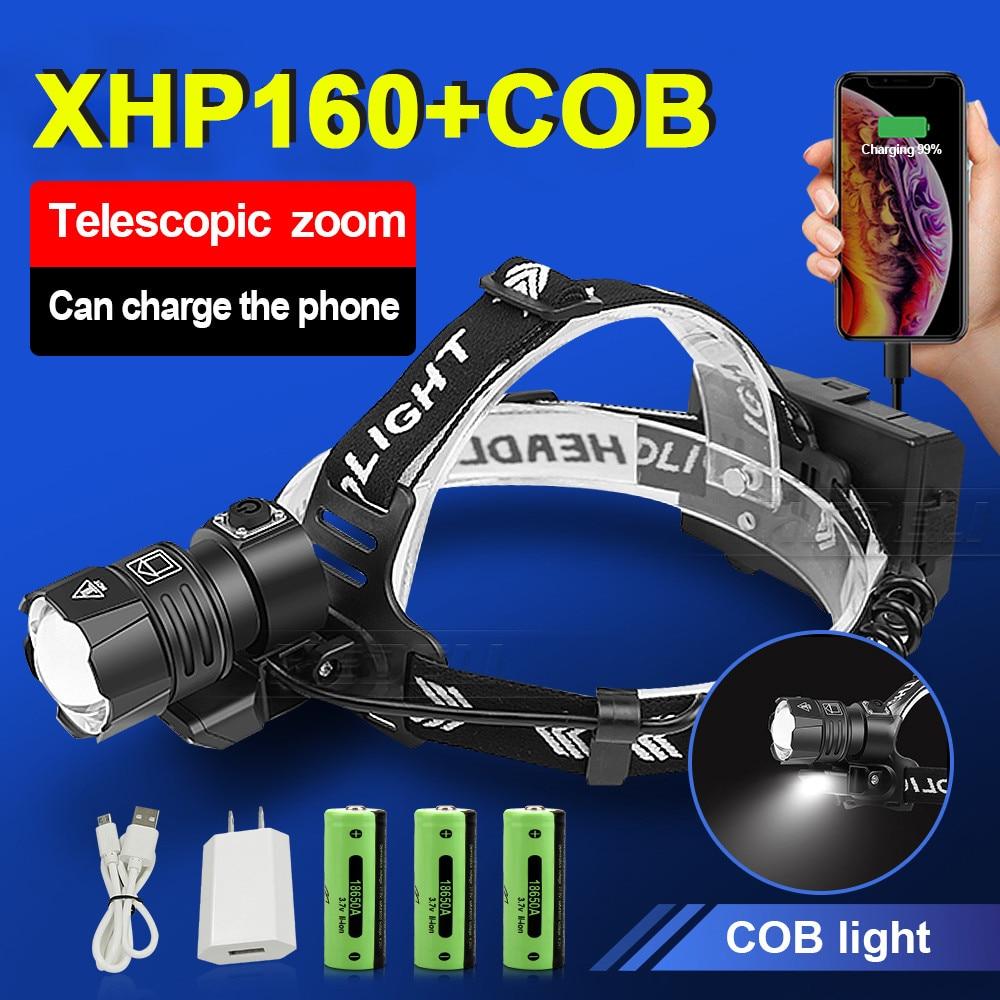 Новый XHP160 наиболее Мощность Фул светодиодные фары XHP90 высокое Мощность светодиодный головной светильник 18650 светильник Перезаряжаемые гол...