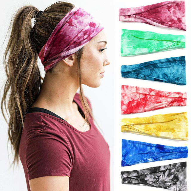 Headband Gym Elastic Hair Band Headband Non-Slip Grip Full Sweat Belt Running Tennis Headband