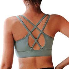 2020 Women Sports Bras Push Up Strappy Sports Bras For Female Sexy Bandage Running Top Wirefree Padded Medium Support Yoga Bra
