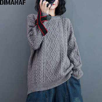 DIMANAF Autumn Winter Plus Size Women Sweater Lady Tops Pullovers Knitting Thick Warm Casual Loose Long Sleeve Female Clothing dimanaf plus size women dress autumn winter spliced cotton elegant a line long casual female vintage loose black dresses