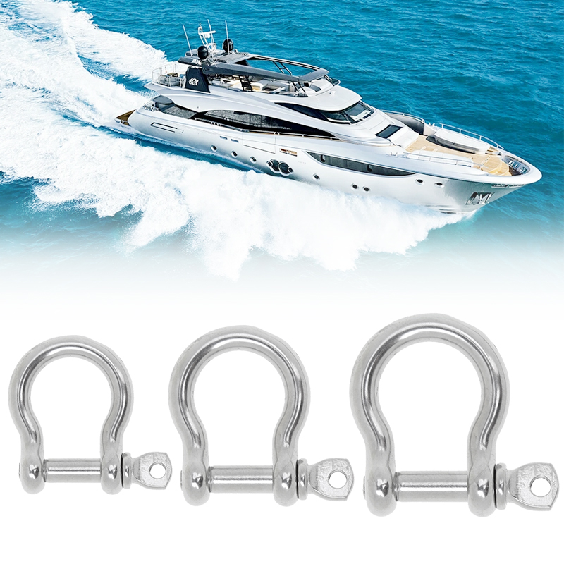 3 Pcs Bow Shackle With Screw Pin Stainless Steel Marine Hardware  For Boat/Yacht/Canoe M4/M5/M6 Bow Shackle Accessory