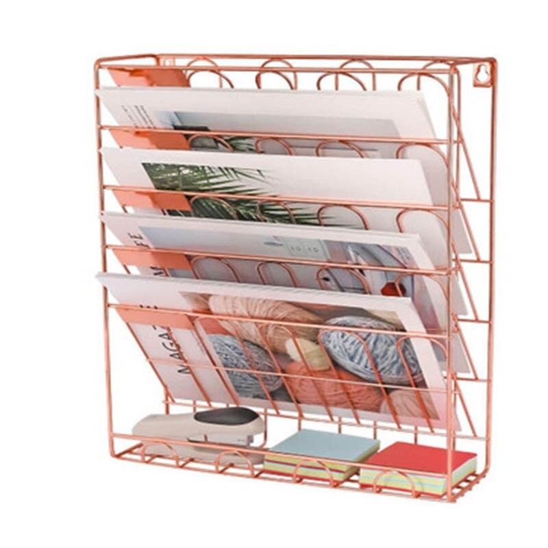 Estante Vertical de Metal y hierro de cinco pisos, cesta para colgar en la pared, escritorio, revista periódico, organizador, soporte de decoración de pared