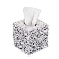 Caja para pañuelos de papel  funda rectangular plateada adecuada para hoteles y casas de huéspedes  tamaño 13 5x13 5x13 5 cm (plateado)