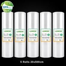 Laimeng sacos à vácuo para seladora sous vide, 5 rolos de sacos de armazenamento 20cmx500cm selas a vácuo para máquina de embalagem a vácuo r114