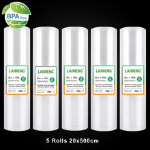 Torebki próżniowe LAIMENG na uszczelniacz próżniowy worki do przechowywania Sous Vide 5 rolek 20cm X 500cm rolka próżniowa do próżni maszyna pakująca R114