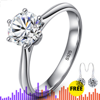 NOT FAKE YES I DO Classic Simple 1 Carat Dream Proposal Ring S925 Sterling silver Diamond 925 Solitaire round cut 6 claws